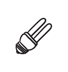 Energy saving light bulb sketch icon vector