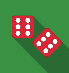 Flat design dice icon with long shadow vector