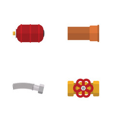 flat icon plumbing set of pump valve container vector image vector image