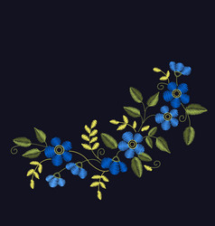 floral embroidery set for your design cards vector image