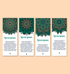 Flower banner template with mandala floral pattern vector