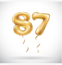Golden number 87 eighty seven metallic balloon vector