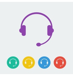 headset flat circle icon vector image