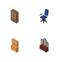 Isometric design set of cabinet office cupboard vector