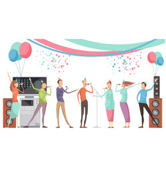 karaoke party flat vector image
