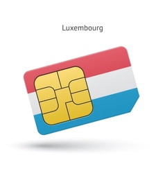 Luxembourg mobile phone sim card with flag vector