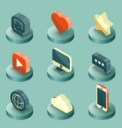 media color isometric icons set vector image