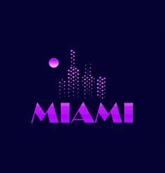 Miami emblem in the style of the 80s points vector
