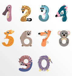 Numbers like Australian animals vector image