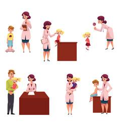 Pediatrician doctor working with kids chidren vector