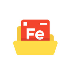 Periodic table emblem with yellow folder vector