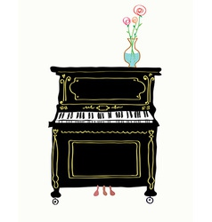 Piano card hand drawn vector image vector image