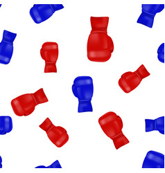 red blue boxing gloves seamless pattern vector image