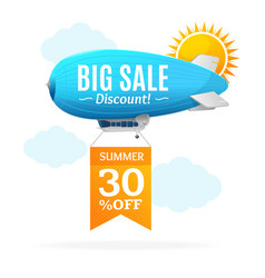 Sale concept labels with airship vector