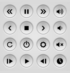 set of black and gray round buttons of clicker or vector image