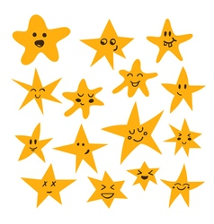 Set of hand drawn cute and funny stars Cartoon vector image vector image