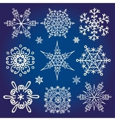 Snowflakes icon collectionWinter star shape vector image vector image