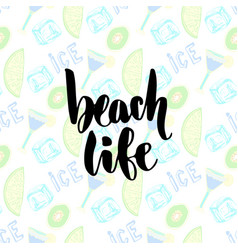summer cocktails background hand lettering beach vector image vector image