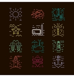 Summer icons marine design elements vector