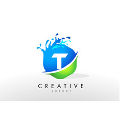 t letter logo blue green splash design vector image vector image