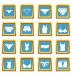 underwear items icons azure vector image vector image