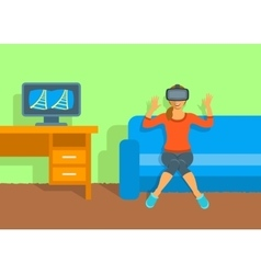 Woman in virtual reality glasses vr box at home vector