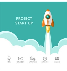 Start up project Rocket ship vector image