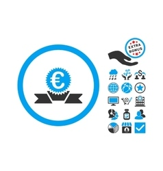 Euro award ribbon flat icon with bonus vector