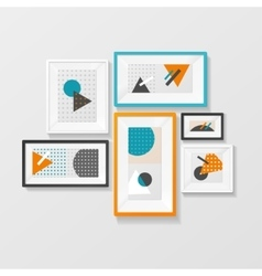 Modern picture frame set hanging on wall vector