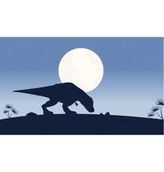 At night tyrannosaurus scenery of silhouettes vector
