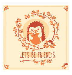 Greeting card with cute hedgehog and apple vector