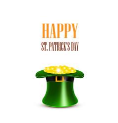 Leprechaun hat filled with gold saint patricks vector