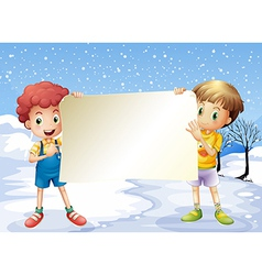 Two boys holding an empty signage vector