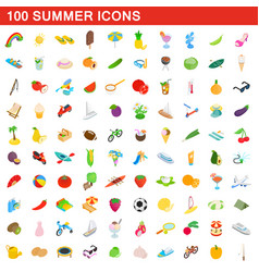 100 summer icons set isometric 3d style vector