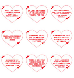 Set of love wishes quotes over white background vector