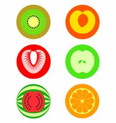 Cut fruit symbols vector