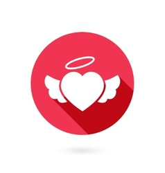 Red winged heart icon with shadow vector