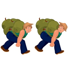 Happy cartoon man walking with heavy backpack vector