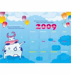 2009 calendar with cute cow vector image