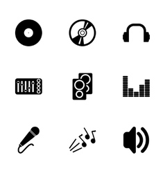 Black dj icon set vector