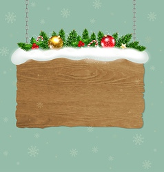 Wooden sign with fir tree vector