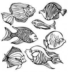 silhouettes of fishes vector image