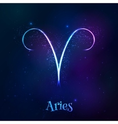 Blue shining cosmic neon zodiac aries symbol vector
