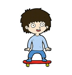 Comic cartoon boy on skateboard vector