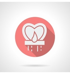 Round pink heart sky lantern flat icon vector