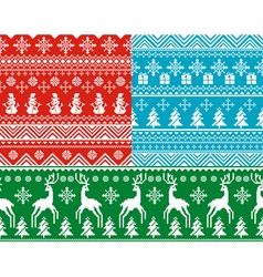 Set of abstract seamless christmas backgrounds vector