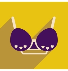 Flat icon with long shadow female bra vector