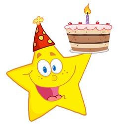 Happy star holding a birthday cake vector