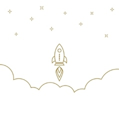 Startup rocket gold line banner concept business vector