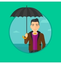 Business man with umbrella vector